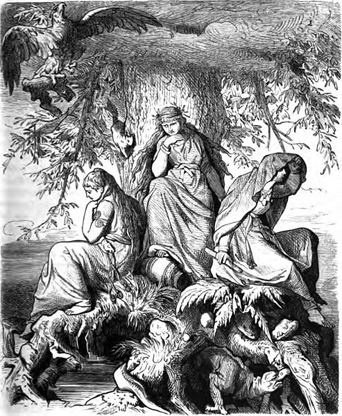 """""""Die Nornen Urd, Werdanda, Skuld, unter der Welteiche Yggdrasil"""". The Nornic trio of Urðr, Verðandi, and Skuld beneath the world tree (called an oak in the caption) Yggdrasil. At the top of the tree is an eagle (likely Veðrfölnir), on the trunk of the tree is a squirrel (likely Ratatoskr), and at the roots of the tree gnaws what appears to be a small dragon (likely Níðhöggr). At the bottom left of the image is the well Urðarbrunnr. ~ Ludwig Burger (1882)"""