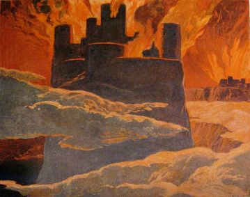 A scene from the last phase of Ragnarök, after Surtr has engulfed the world with fire. The surrounding text implies that this is Ásgarðr (Asgard) burning. ~ detail from Walhall, die Götterwelt der Germanen by Emil Doepler. ca. 1905. Photographed and cropped by User:Haukurth.