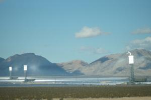 Ivanpah Solar Power Facility (California) with all three towers under load, Feb., 2014 ~ Sbharris