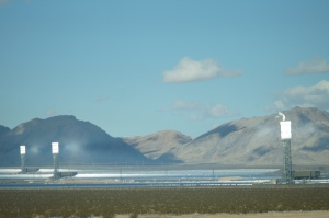 Ivanpah Solar Power Facility (California) with all three towers under load, Feb., 2014 ~ Sbharris