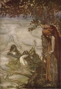 Rhein maidens warn Siegfried. Originally the image stems from Richard Wagner's Siegfried and the Twilight of the Gods ~ by Arthur Rackham