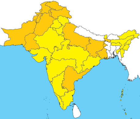 English: Map of the subcontinent showing areas where Urdu is official or co-official [orange] and where Hindi is official [yellow]. ~ Kwamikagami at English Wikipedia