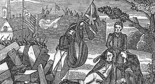 The death of American General Pike at the Battle of York, 27 April 1813 (courtesy Canadian Military History Gateway, Government of Canada).