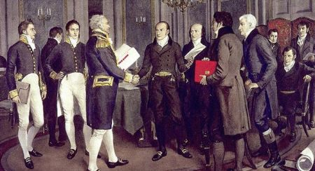 In his 1914 painting A Hundred Years Peace, artist Amedee Forestier illustrates the signing of the Treaty of Ghent between Great Britain and the US, 24 December 1814 (courtesy Library and Archives Canada/C-115678).