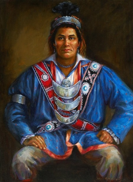 Portrait of Pushmataha unveiled April 1, 2001. It hangs in the Mississippi Hall of Fame, Old Capitol Museum, in Jackson, Mississippi. The portrait was presented by the Mississippi Band of Choctaw Indians. Portrait by Mississippian Katherine Roche Buchanan. ~ Courtesy Mississippi Department of Archives and History