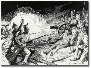 The Battle of Lundy's Lane, [ca. 1921] C. W. Jefferys Pen and Ink Drawing Government of Ontario Art Collection, 621234