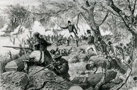 Voltigeurs in action at the Battle of the Chateauguay