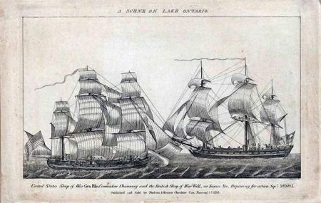 A scene on Lake Ontario - United States sloop of war Gen. Pike, Commodore Chauncey, and the British sloop of war Wolfe, Sir James Yeo, preparing for action, September 28, 1813. Published and sold by Shelton & Kennet, Cheshire, Con. November 1st 1813