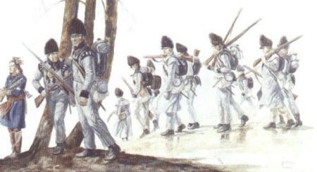 Canadian voltigeurs prepare to defend Lacolle Mills during the War of 1812 (painting by G.A. Embleton, courtesy Parks Canada)