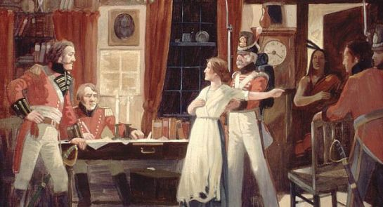 Meeting between Laura Secord and Lieutenant FitzGibbon, June 1813 (painting by Lorne Kidd Smith, courtesy Library and Archives Canada/C-011053)
