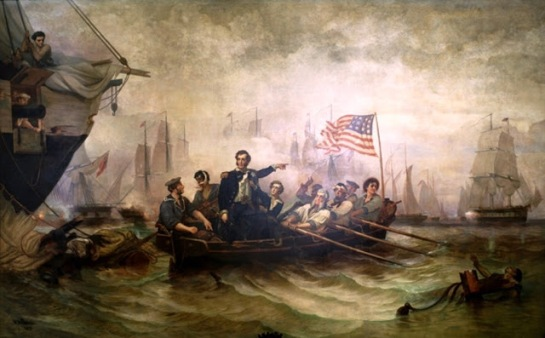 Perry's Victory, painted by William Henry Powell of Cincinnati in 1865, illustrates Oliver Hazard Perry's decisive victory over the British fleet in the Battle of Lake Erie (September 10, 1813). This victory ensured American control of the Great Lakes. The painting is currently hanging in the rotunda of the Ohio Statehouse.