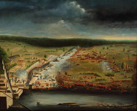 1815 painting of the battle by participant Jean Hyacinthe de Laclotte of the Louisiana Militia based on his memories and sketches made at the site.