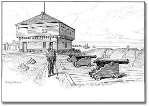 """Blockhouse and Battery in Old Fort, Toronto, 1812, [ca. 1921] C. W. Jefferys Pen and ink drawing on paper 29.2 cm x 36.8 cm (11.5"""" x 14.5"""") Government of Ontario Art Collection, 621228"""