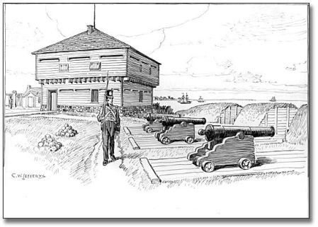 "Blockhouse and Battery in Old Fort, Toronto, 1812, [ca. 1921] C. W. Jefferys Pen and ink drawing on paper 29.2 cm x 36.8 cm (11.5"" x 14.5"") Government of Ontario Art Collection, 621228"