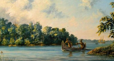 Just prior to the British capture of Fort Detroit, communications across the Detroit River were all-important. Fast canoes manned by loyal First Nations warriors performed this task (Downriver Despatches by Peter Rindlisbacher).