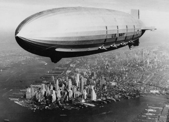 The USS Macon sails over lower Manhattan, on October 9, 1933. (AP Photo/U.S. Navy)