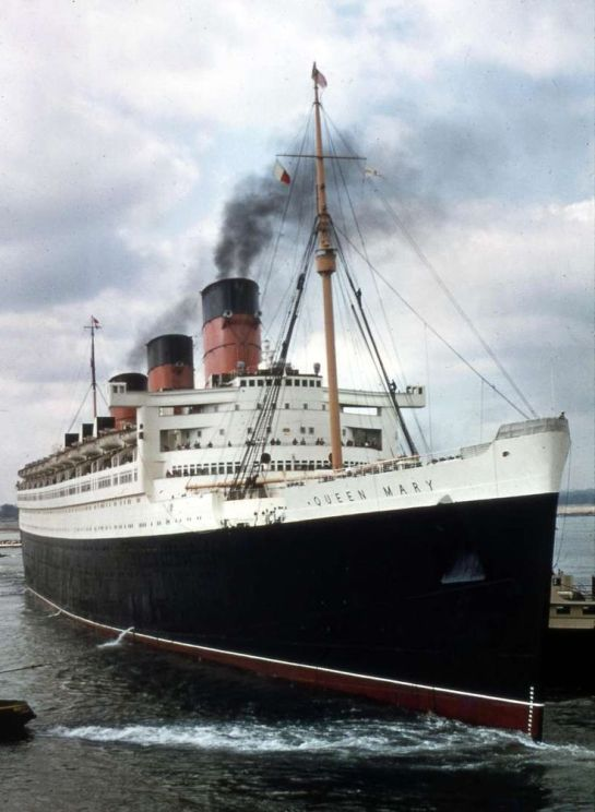 The Cunard liner RMS Queen Mary at Southampton in 1960s - copyright Chris Howel at shipspotting.com.