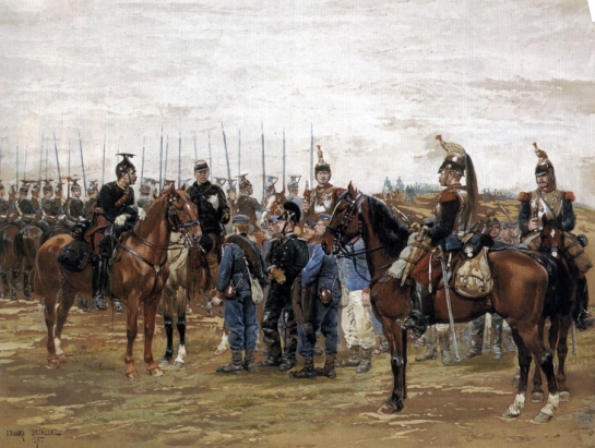 French_Cavalry_Officer_Guarding_Captured_Bavarian_Soldiers